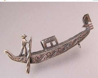 SHIPS 6/26 w/FREE Jewelry Vintage Venetian Italian Gondola Venice 800 Silver Brooch Pin Fine Jewelry Jewellery