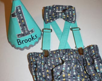 baby boy cake smash gray with teal arrows first birthday outfit boy 1st birthday boys diaper cover bow tie personalized first birthday hat