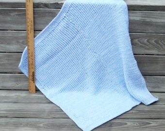 Baby Afghan, Loom Knit Blanket, Hand crocheted,Blue and White Carriage Throw, Baby Doll, Car Seat Blanket, Carriage Robe, Blinkie, Throw