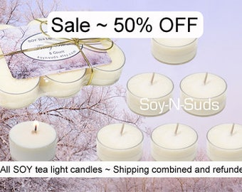 SALE // Tea Light Soy Candles // 6 Pack Homemade Soy Candles // Dye Free // CHOOSE SCENT