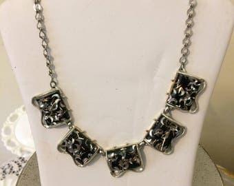 Vintage Black Silver Confetti Coro Necklace Earrings Demi Parure