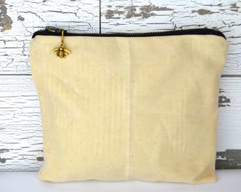 Waxed Canvas pouch & gear tote for art pencils, make up, music and earbuds For Him or Her Waxed Canvas vintage linen by Darby Mack