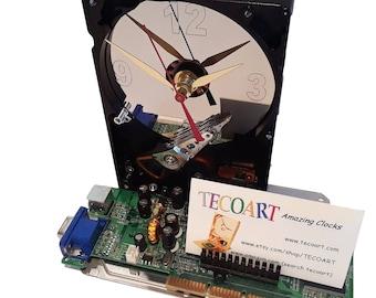 Business Card Holder Hard Drive Clock, a Unique Gadget! Got Award Clock, Geek Gifts for Men, Office Gift Clock, Novelty Clock, Geek Clock?