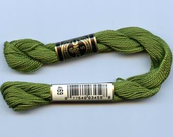 DMC Coton Perle 5 #469 Avocado Green 100% Mercerized Pearl Cotton Thread 27 yd skein for crochet, cross stitch, needlepoint