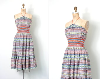 vintage 1950s dress /  aztec print 50s halter dress / smocked  / small s