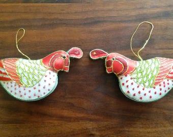 Vintage Handmade Bird Embroidered Pillowed Christmas Ornaments