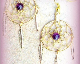 SALE PASSION for PURPLE Dream catcher earrings in gold with Amethyst - Gold or Silver - Amethyst Dreamcatcher earring Dream catcher jewelry