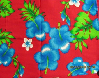 Marianne of Maui Hawaiian Quilting Fabric SALE Mgenta Red Rayon with Bluegreen Hibiscus