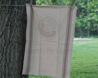 Brown  Grainsack Cotton Tea Towel, Farmhouse towel, French Inspired Flour Sack Towel, Vintage  Look Towel