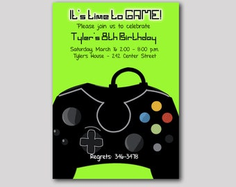 Neon Green Video Game Gamer Birthday Invitation Any Age, Digital Printable JPG or PDF File, Boys Birthday