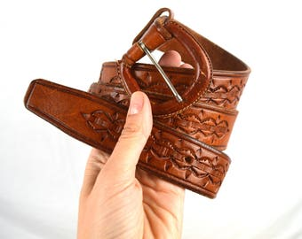 Vintage Brown Leather Mexican Tooled Belt - Size 38