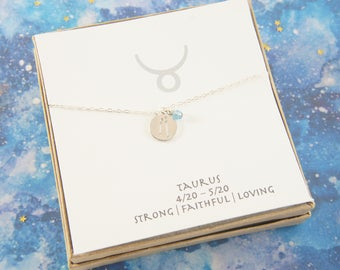silver zodiac Taurus  necklace, birthday gift, custom personalized, gift for women girl, minimalist, simple necklace, layered