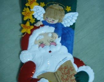 "Bucilla Felt GUARDIAN ANGEL  18"" CHRISTMAS Stocking Completed"