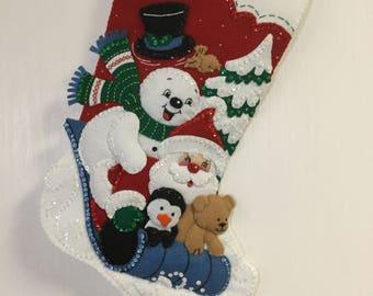 "Bucilla Completed Felt 18"" WINTER FUN Christmas Stocking"