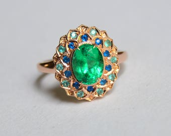 Emerald Ring, rose gold flower ring, paraiba ring, hauynite ring, engraved flower petal ring, 14 kt gold ring, halo ring, colored gemstones