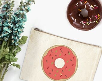 Canvas Makeup Bag - Donut Make Up Pouch - Canvas pouch - Cosmetic pouch - Cosmetic Bag - Makeup Organizer - Cute Cosmetic Bags-Clutch