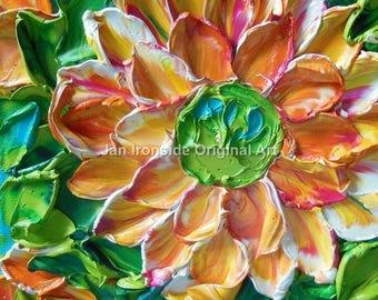 Original Oil Painting, Fine Art , Impasto peachy daisy