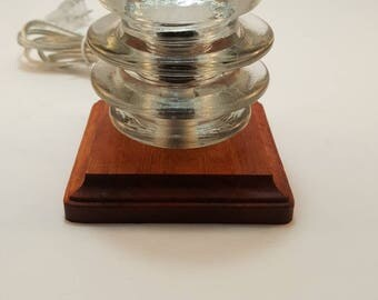 Glass insulator and wood lamp (#8)
