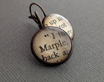 Agatha Christie Book Earrings Detective Novel Marple and Poirot Book Jewellery