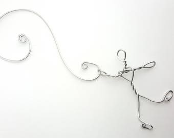 Hanging on Wire Ornament - Silver Wire tiny person giant hook tree ornament