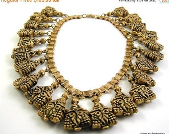 45% off Sale 1930 Art Deco Necklace Egyptian Revival Hollow Brass Charm Bookchain