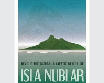 Isla Nublar from Jurassic Park Retro Travel Poster print 9x12, 12x18 vintage style