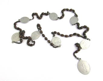 Seven Sorrows Servite Rosary Beads Mary Chaplet Vintage Rosaries Religious Medal Brown