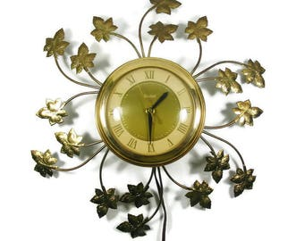 Electric Wall Clock Gold Metal Grape Leaves Roman Numeral Vintage Clock by United Clock Corp
