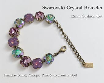 Paradise Shine, Antique Pink And Cyclamen Opal Swarovski Crystal Bracelet, 12mm Cushion Cut Crystals, Adjustable Length