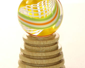 Hand turned Marble Holder..or.. stand--with a display light-- ))) Movingui Wood  (( Lamp Work (  MS62
