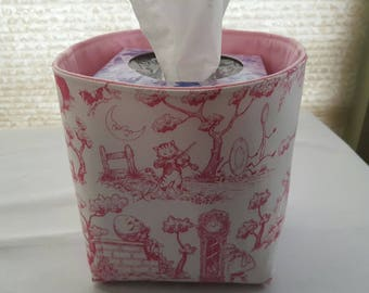 Mini Baskets Fabric Storage Organizer Bins - Pink & White Nursery Rhyme Toile - Tissue Holder -
