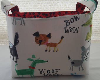 Fabric Organzier Basket Container Caddy Storage Bin -  Dogs Pow Wow Ruff Paws Ready to Ship