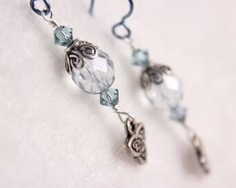 Blue Celtic Knot Czech Glass, Swarovski Crystals, Fine Pewter, Niobium