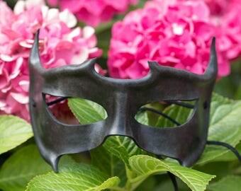 Black Horned Leather Masquerade Mask