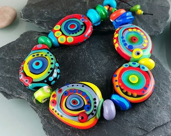 Wild Parrots - Dot Art - 5 free shaped lampwork beads and 10 mixed size spacer beads - Glass Art by Michou P. Anderson