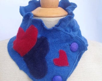 SALE Handmade royal blue warm wool scarflette neck warmer with red hearts and button details. Upcycled. Felted wool. Winter wear.