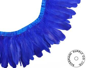 "Feather Trim - Goose Feather Satinette Fringe Trims - Royal Blue - 5""-7"" (1 yard)"