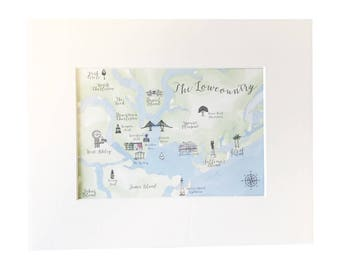 Charleston Map Print, Charleston SC, Gift Idea, Custom Map, Watercolor Map, Charleston Gift, Wall Art, Print