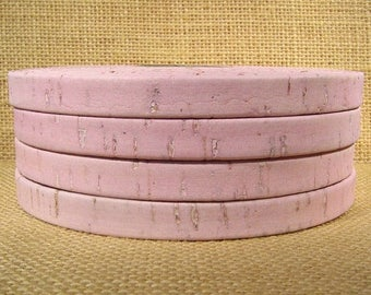 Summer Sale - 25% off Portuguese Cork - 10mm Flat - Pink - 10MF-C12 - Choose Your Length