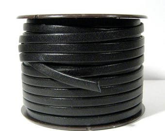 25% Off 5mm Flat Leather - Black - L5F-1 - Choose Your Length