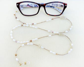 Boho Beaded Pearl Eyeglass Chain, White Freshwater Pearls, Crazy Lace Agates, Golden Citrine, Handmade Reading Glasses Necklace