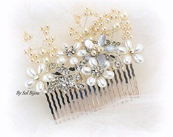 Wedding Hair Comb,Hair Fascinator,Pearl Hair Comb,Crystal Hair Comb,Silver Hair Comb,Bridal Comb,Elegant Wedding,Flower Girl,Pearl Cluster