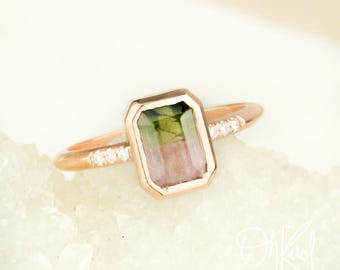 Emerald Cut Watermelon Tourmaline Ring - Diamonds on Band - October Birthstone Ring