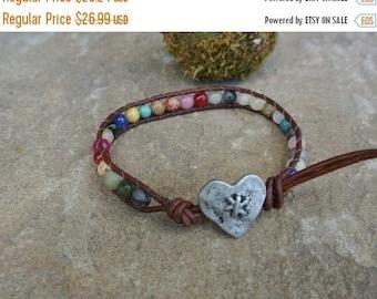 50% OFF SALE 25 Percent Off Sale Heart Gemstone Beaded Leather Bracelet / Anklet