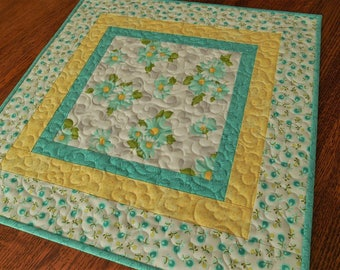 Quilted Table Topper with Aqua Daisies, Small Square Table Topper, Nursery Decor, Summer Decor, Aqua Yellow Gray, Quilted Tablecloth