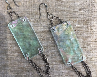 Rectangle Iridescent Dangle Earrings with Gunmetal Chain Accent