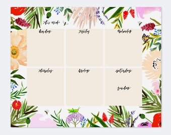 """Notepads - Boho Bugs And Florals Weekly Planner Notepad - 8.5"""" x 11"""" - Planner - Mouse pad - Floral Print"""