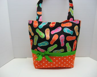 Bright Flip Flop Covered Tote Bag with Five Pockets Inside!