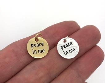 LDS YW theme 2018 charms, Peace in Me, Young Women Youth theme Jewelry, 2018 girls camp charms, YW birthday Gifts, Peace in Christ Gifts