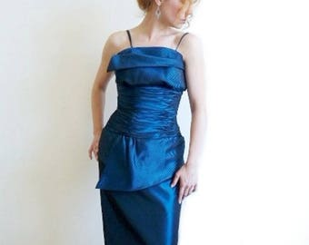 Alyce Designs dress Blue Sapphire Vintage 80s Prom Evening Cocktali Gown Size S